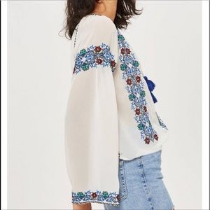 Topshop embroidered boho style crop top